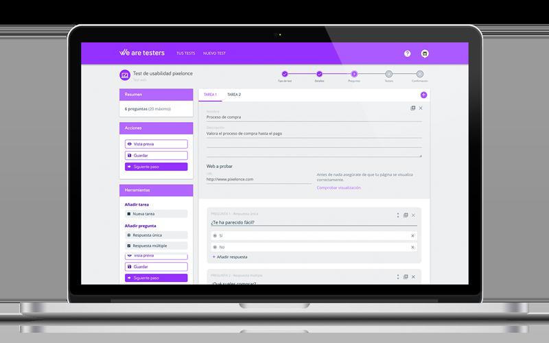 Editor intuitivo de tests con plantillas, tareas y preguntas