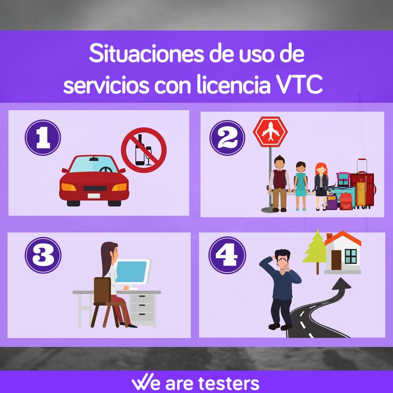 Situaciones de uso de los servicios con licencia VTC